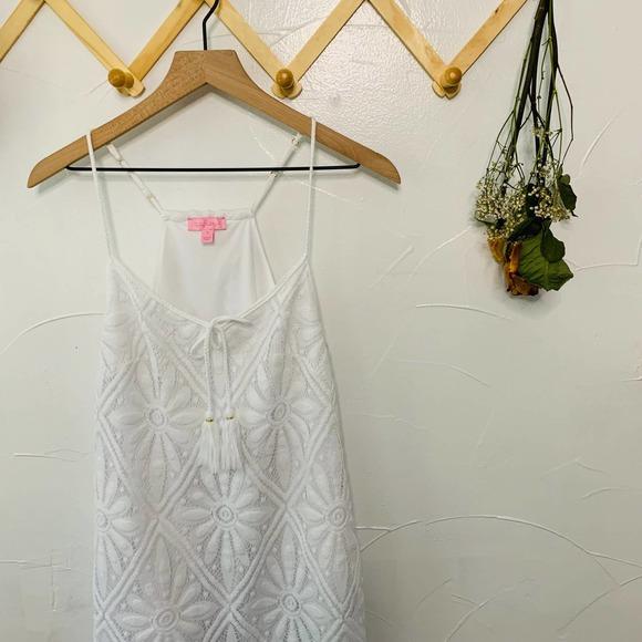 Lilly Pulitzer Floral Dress w/ Fringe Tassel Tie